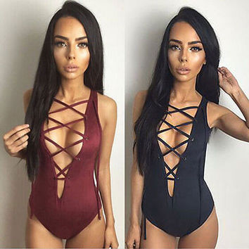 One Piece Swimsuit Sexy Swimwear Women Bathing Suit Swim Vintage Summer Beach Wear Print