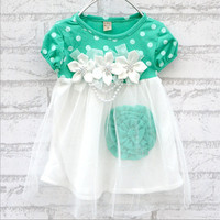 Three Flowers Appliques Dress
