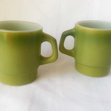 Vintage Anchor Hocking Fire King Stackable Mug Olive Green