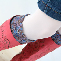 Knit Boot Cuffs in Brown, Blue, Gray and Lavender, Crochet Boot Topper, Womens Boot Socks
