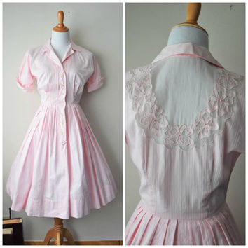 50s Powder Pink Pin Up Perfect Housewife Shirtwaist Dress // SHEER Illusion Keyhole Back, Pleated Full Skirt // Mad Men June Cleaver Sz S