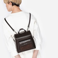 Brown Top-Zip Textured Backpack|CHARLES & KEITH
