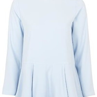 Crepe Peplum Top by Boutique - Baby Blue