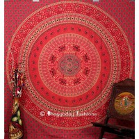 Gorgeous Red Round Cotton Hippie Tapestry Wall Hanging