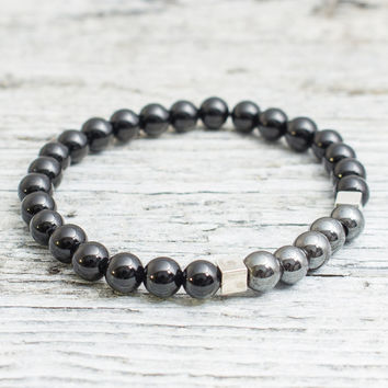 Black onyx and hematite beaded stretchy bracelet, mens bracelet, womens bracelet