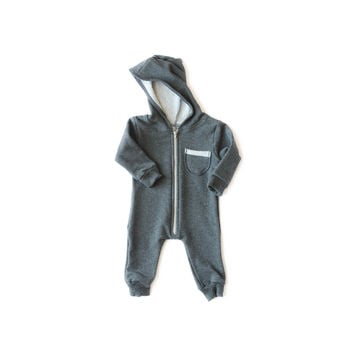 Oversized Fleece Jumpsuit Charcoal