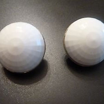Vintage Monet White Faceted Cabochon Dome Earrings Thermoset Plastic Costume Jewelry