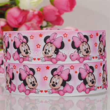 22mm 5y Minnie Mouse Satin Pink Ribbon Wedding Party Decoration Invitation Card Gift Wrapping Scrapbooking Supplies