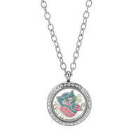 Handmade Living Floating Memory Locket Necklace Owl Bead Charms (Color: Silver)