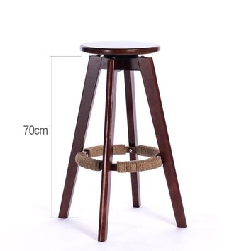 Wooden Bar Stools Swivel Seat Round Mahogany/Natural Finish Backless Indoor Mini Home Bar Furniture Chair Stool Wood  Cafe Stool
