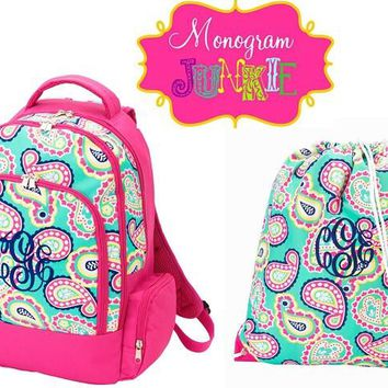 Monogrammed Mint Paisley Backpack and Gym Bag