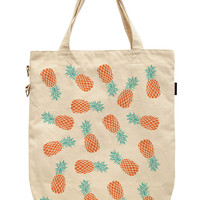 Women Tropical Pinapple Printed Canvas Tote Shoulder Bags WAS_39