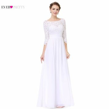 Wedding Dress White Chiffon A Line EP08412WH Ever Pretty New Arrival Scoop Neck Women Elegant 3/4 Sleeve Lace Floor Length Dress