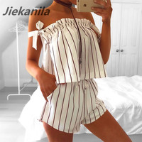 Jiekanila Dark red stripe white Sling jumpsuit romper Off shoulder two piece Set Sexy summer beach playsuit 2017 women outfit
