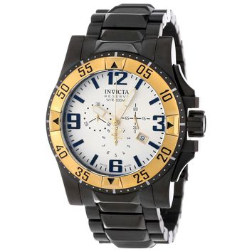 Invicta 14037 Men's Excursion Reserve Gold Tone Bezel Silver Dial Black Steel Chronograph Dive Watch