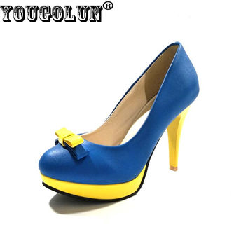 YOUGOLUN Women Thin Heel Pumps High Heels 10cm Butterfly knot Party Shoes #H-049
