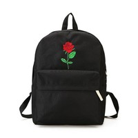 Cute Rose Embroidered Black Backpack