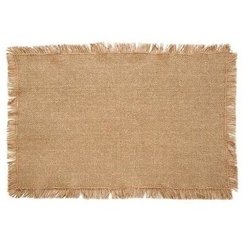 Set of Six Burlap Natural Fringed Placemats
