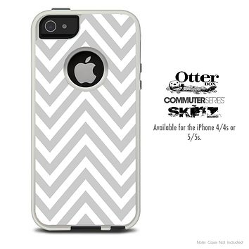 The Sharp Gray & White Chevron Skin For The iPhone 4-4s or 5-5s Otterbox Commuter Case
