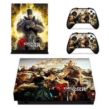 Gears of War Skin Sticker Decal For Microsoft Xbox One X Console and 2 Controllers For Xbox One X Skin Sticker Vinyl