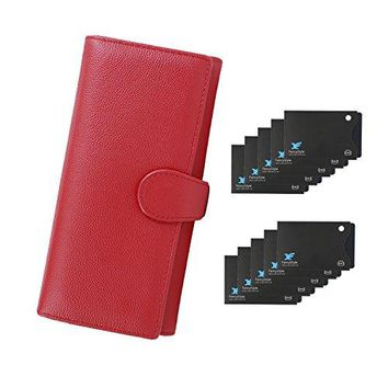FancyStyle RFID Wallets for Women Leather Trifold Long Large Travel Clutch Purse with 10 Sleeves Red