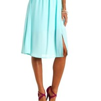 Front Slit Chiffon Full Midi Skirt by Charlotte Russe - Mint