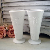 Vintage Milk Glass Harvest Grape Pattern Vases, Shabby Chic White Glass Vases, Mid Century, Wedding Decor