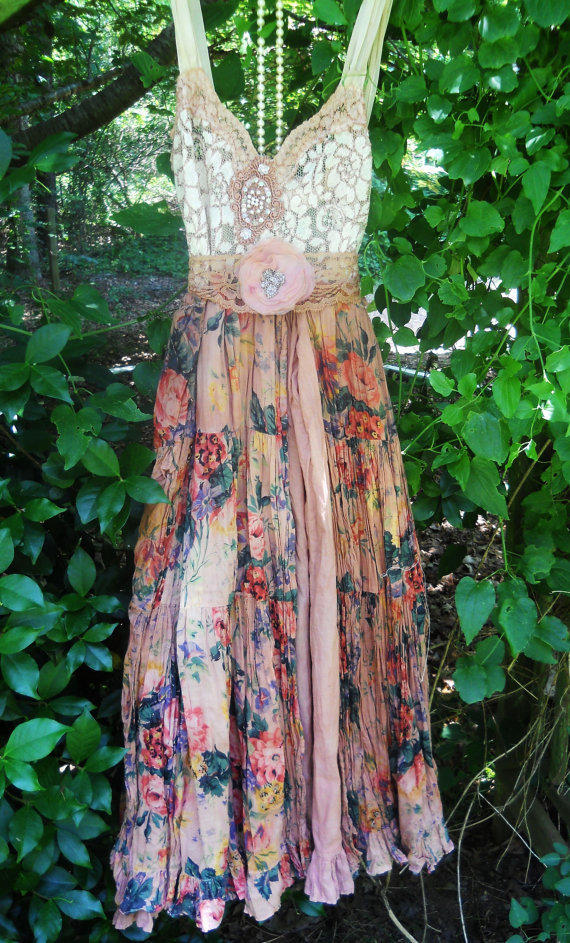 Boho floral dress ruffle cotton tea stained by vintageopulence