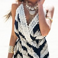 Nayvia Navy Blue White Spaghetti Strap Cross Wrap V Neck Crochet Trim Lace Chevron Short Romper