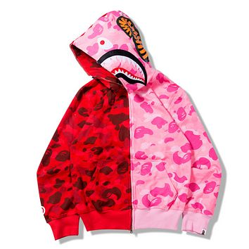Bape Aape Shark Autumn thin section camouflage color camouflage sweatshirt long-sleeved jacket Rose red