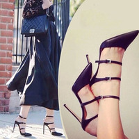 Hot sexy fashion Sales 2015 Womens Pumps stiletto pointy high heels Rome nightclub slim OL professional shoes women