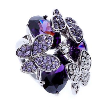 2017 New cute Styles Fashion Wedding Rings For Women Purple Water Drop Cubic Zirconia Butterfly With SWA Element Crystal J00973
