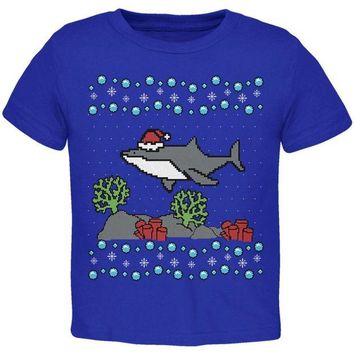 LMFCY8 Ugly Christmas Sweater Shark Santa Hat Toddler T Shirt