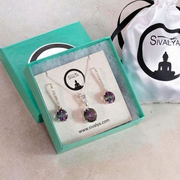 Cushion Cut Mystic Topaz Necklace and Earrings Jewelry Set Sterling Silver