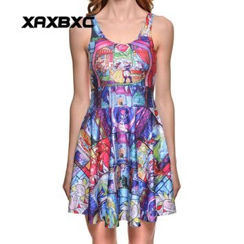 XAXBXC Plus Size Fashion Women Summer Reversible Pleated Dress Sexy Gril Vest Skater Dress Beauty and the Beast Rose Prints