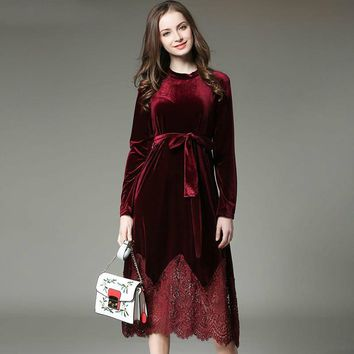 New Winter Dress Women Plus Size Velvet Lace Stitching Long Vintage Elegant Robe Elbise Office Casual Dress
