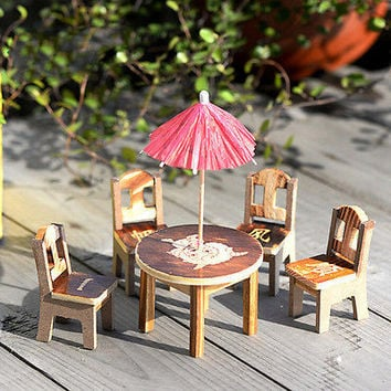 Miniature Fairy Wooden Desk+Chair+Umbrella Dollhouse Garden Home Ornament Decors
