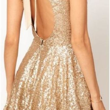 hot shining backless bow sequins dress