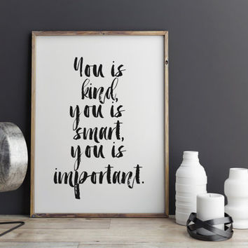 "Motivational Print Typography Poster ""You is important"" Wall Hang Wall Decor Inspirational Print Home Decor Motivated Quote Motivated Poster"