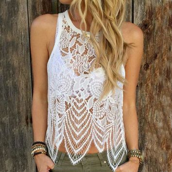Solid Color Lace Sling Vest Tops Camisole