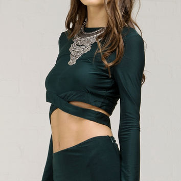 Long Sleeve Wrap Around Waist Crop Top - Teal