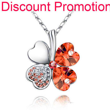 Link Chain Hot Spring Austrian Crystal four Leaf Leaves heart Rhinestones Necklace Pendant Jewelry