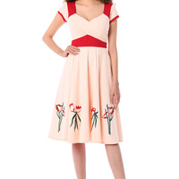 Colorblock embellished cotton knit dress