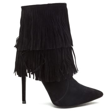 FULL SWING FRINGE BOOTIE - BLACK