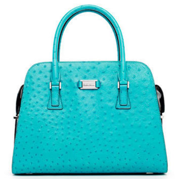 Michael Kors Michael Kors Gia Ostrich-Embossed Leather Satchel - Michael Kors