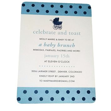 Polka Dot and Stroller Baby Shower Invitation