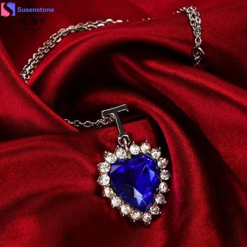 SUSENSTONE Elegant Women Lady Silver Heart Of The Ocean Blue Crystal Necklace