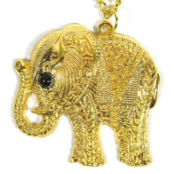 Elephant Necklace Safari Charm NC18 Yellow Gold Tone Tribal Africa Pendant Fashion Jewelry