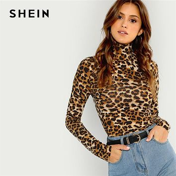 Leopard Print Long Sleeve Pullover Top