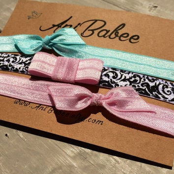 Tie knot baby headband, pink bow baby headband, baby headband set, shabby chic, girls headband, teen, womens, infant headband